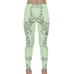 Illustration Of Butterflies And Flowers Ornament On Green Background Classic Yoga Leggings