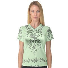 Illustration Of Butterflies And Flowers Ornament On Green Background Women s V-Neck Sport Mesh Tee