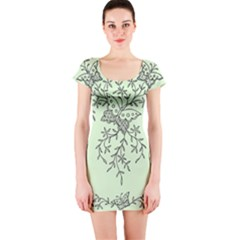 Illustration Of Butterflies And Flowers Ornament On Green Background Short Sleeve Bodycon Dress