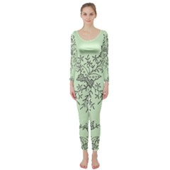 Illustration Of Butterflies And Flowers Ornament On Green Background Long Sleeve Catsuit