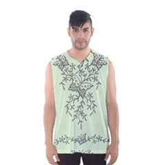 Illustration Of Butterflies And Flowers Ornament On Green Background Men s Basketball Tank Top