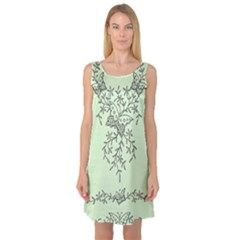 Illustration Of Butterflies And Flowers Ornament On Green Background Sleeveless Satin Nightdress