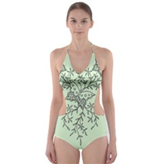 Illustration Of Butterflies And Flowers Ornament On Green Background Cut Out One Piece Swimsuit