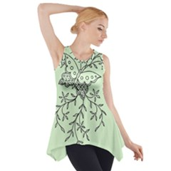 Illustration Of Butterflies And Flowers Ornament On Green Background Side Drop Tank Tunic