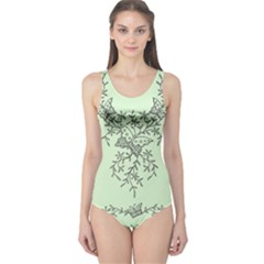 Illustration Of Butterflies And Flowers Ornament On Green Background One Piece Swimsuit