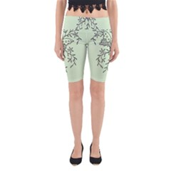 Illustration Of Butterflies And Flowers Ornament On Green Background Yoga Cropped Leggings