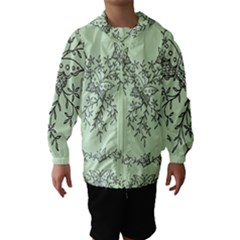 Illustration Of Butterflies And Flowers Ornament On Green Background Hooded Wind Breaker (kids)