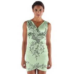 Illustration Of Butterflies And Flowers Ornament On Green Background Wrap Front Bodycon Dress