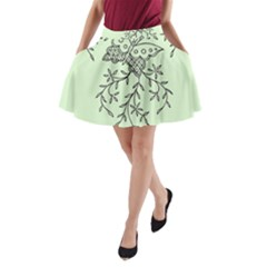 Illustration Of Butterflies And Flowers Ornament On Green Background A-Line Pocket Skirt