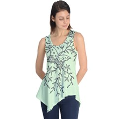 Illustration Of Butterflies And Flowers Ornament On Green Background Sleeveless Tunic