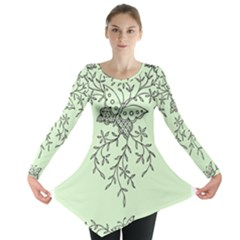 Illustration Of Butterflies And Flowers Ornament On Green Background Long Sleeve Tunic