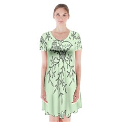 Illustration Of Butterflies And Flowers Ornament On Green Background Short Sleeve V Neck Flare Dress