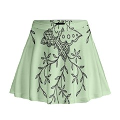 Illustration Of Butterflies And Flowers Ornament On Green Background Mini Flare Skirt