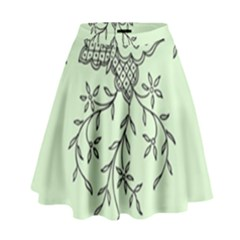 Illustration Of Butterflies And Flowers Ornament On Green Background High Waist Skirt