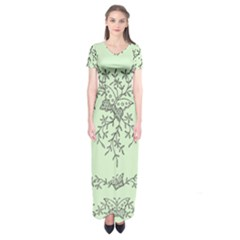 Illustration Of Butterflies And Flowers Ornament On Green Background Short Sleeve Maxi Dress
