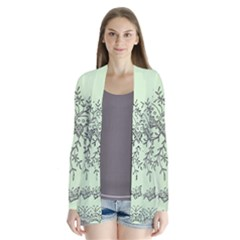 Illustration Of Butterflies And Flowers Ornament On Green Background Drape Collar Cardigan