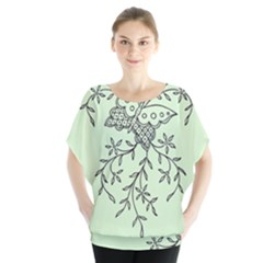 Illustration Of Butterflies And Flowers Ornament On Green Background Blouse