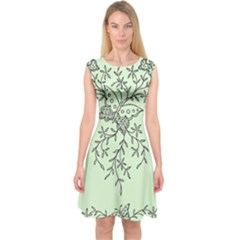 Illustration Of Butterflies And Flowers Ornament On Green Background Capsleeve Midi Dress