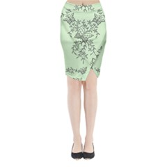 Illustration Of Butterflies And Flowers Ornament On Green Background Midi Wrap Pencil Skirt