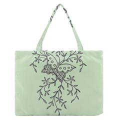 Illustration Of Butterflies And Flowers Ornament On Green Background Medium Zipper Tote Bag