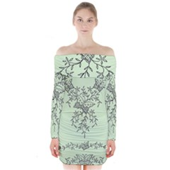 Illustration Of Butterflies And Flowers Ornament On Green Background Long Sleeve Off Shoulder Dress