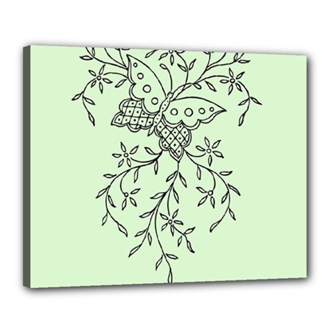 Illustration Of Butterflies And Flowers Ornament On Green Background Canvas 20  X 16
