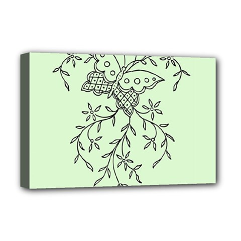 Illustration Of Butterflies And Flowers Ornament On Green Background Deluxe Canvas 18  x 12