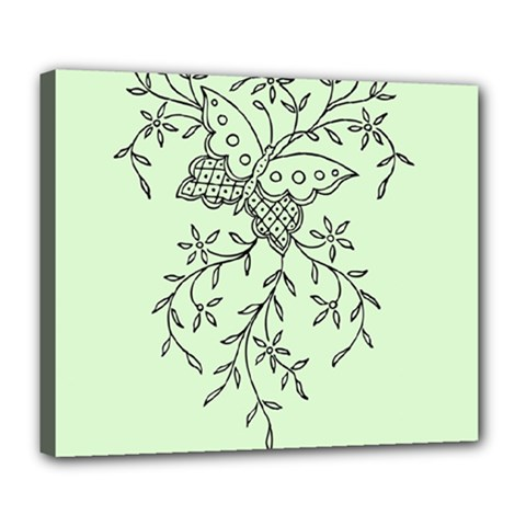 Illustration Of Butterflies And Flowers Ornament On Green Background Deluxe Canvas 24  x 20