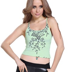 Illustration Of Butterflies And Flowers Ornament On Green Background Spaghetti Strap Bra Top