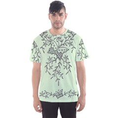 Illustration Of Butterflies And Flowers Ornament On Green Background Men s Sports Mesh Tee