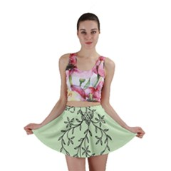 Illustration Of Butterflies And Flowers Ornament On Green Background Mini Skirt