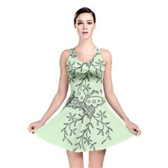Illustration Of Butterflies And Flowers Ornament On Green Background Reversible Skater Dress