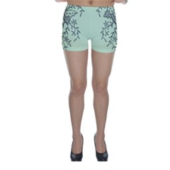 Illustration Of Butterflies And Flowers Ornament On Green Background Skinny Shorts