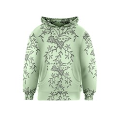 Illustration Of Butterflies And Flowers Ornament On Green Background Kids  Pullover Hoodie