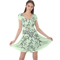 Illustration Of Butterflies And Flowers Ornament On Green Background Cap Sleeve Dresses