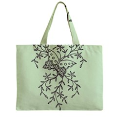 Illustration Of Butterflies And Flowers Ornament On Green Background Zipper Mini Tote Bag