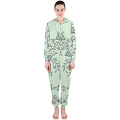Illustration Of Butterflies And Flowers Ornament On Green Background Hooded Jumpsuit (Ladies)