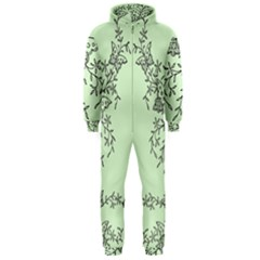 Illustration Of Butterflies And Flowers Ornament On Green Background Hooded Jumpsuit (Men)