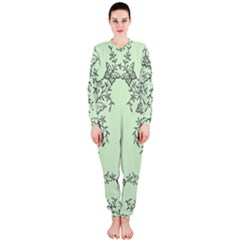 Illustration Of Butterflies And Flowers Ornament On Green Background Onepiece Jumpsuit (ladies)