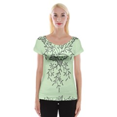 Illustration Of Butterflies And Flowers Ornament On Green Background Cap Sleeve Tops