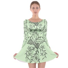 Illustration Of Butterflies And Flowers Ornament On Green Background Long Sleeve Skater Dress