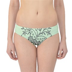 Illustration Of Butterflies And Flowers Ornament On Green Background Hipster Bikini Bottoms