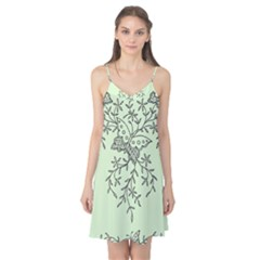 Illustration Of Butterflies And Flowers Ornament On Green Background Camis Nightgown