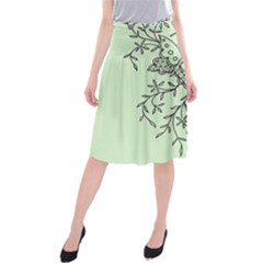 Illustration Of Butterflies And Flowers Ornament On Green Background Midi Beach Skirt