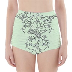 Illustration Of Butterflies And Flowers Ornament On Green Background High-Waisted Bikini Bottoms