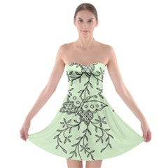 Illustration Of Butterflies And Flowers Ornament On Green Background Strapless Bra Top Dress