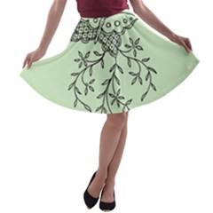 Illustration Of Butterflies And Flowers Ornament On Green Background A-line Skater Skirt