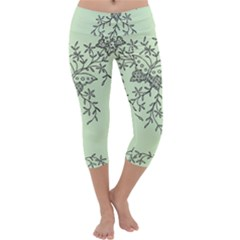 Illustration Of Butterflies And Flowers Ornament On Green Background Capri Yoga Leggings