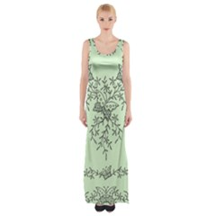 Illustration Of Butterflies And Flowers Ornament On Green Background Maxi Thigh Split Dress