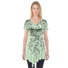 Illustration Of Butterflies And Flowers Ornament On Green Background Short Sleeve Tunic